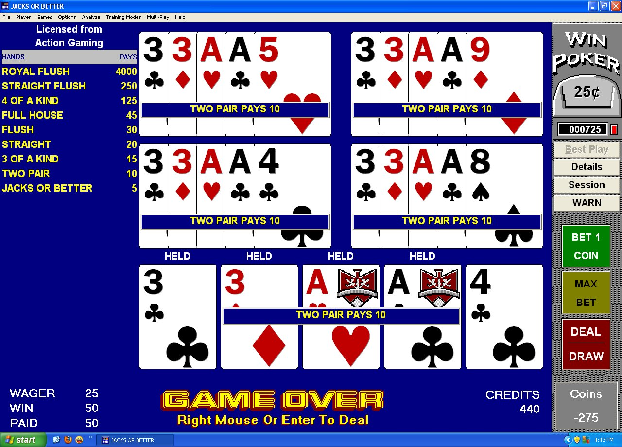 Winpoker Video Poker training software